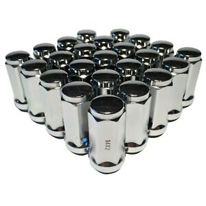 """24 Chrome 14x2 Lug Nuts 1.9"""" Long Bulge Acorn with 3/4"""" Hex Ford Expedition F150"""