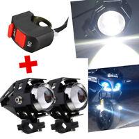 2x U5 Motorcycle Motorbike Bike Headlight LED Fog Spot Lights Bulb 125W + Switch