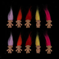 Set of 10 Troll Dolls Mini Dollhouse Favor Toy Hobbyists Collectable Toys