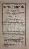 1926 CATALOGUE DE VENTE TARIFS  DELAUNAY BELLEVILLE 1 VOLET