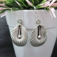 Hill Tribe Fine Sterling Silver Earrings Ethnic Gorgeous Dangle Leaf aucmon