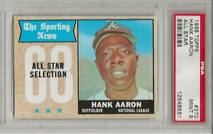 1968 TOPPS #370 HANK AARON, PSA 9 MINT, SET BREAK-  ALL-STAR, HOF,ATLANTA BRAVES
