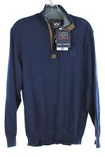 NWT PAUL & SHARK YACHTING Cool Touch Navy Wool w/ Leather 1/4 Zip Sweater M $495