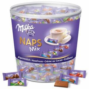 Milka Naps Mix Mini Schokoladentäfelchen Alpenmilch Erdbeer Haselnuss 1 kg Dose