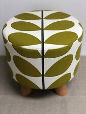New Footstool made with Orla Kiely Multi Stem Olive Fabric