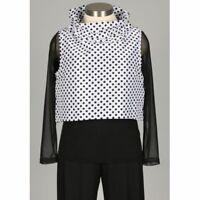 Sun Kim Wire Collar Vest Large L Crop Top Black White Polka Dot Boxy Comfy USA