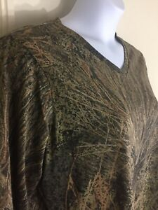 Mossy Oak Brush Camo Long Sleeve V-Neck Top T-Shirt Plus Size XXL 2XG 20