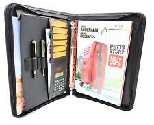 Ringbuchmappe Schreibmappe mit Reißverschluss DIN A4 Block & Solartaschenrechner