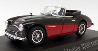 Norev 1/43 Scale Model Car 070014 - Austin Healey 3000 Mk3 - Black/Red