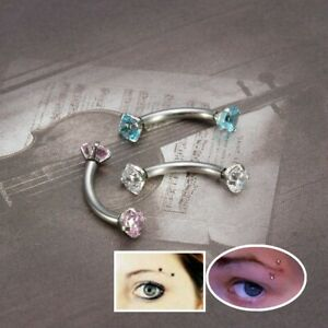 Rhinestone Ear Ring 16G Crystal Threaded Steel Nose Lip Eyebrow Piercing Jewelry