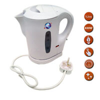 1 LITRE WHITE 900W ELECTRIC CORDLESS KITCHEN KETTLE CARAVAN TRAVEL HOT WATER JUG