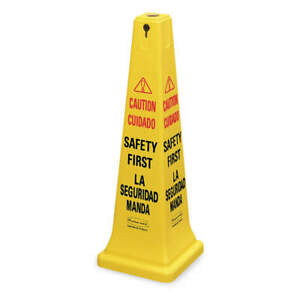 RUBBERMAID COMMERCIAL PRODUCTS FG627687YEL Safety Cone,Yellow,HDPE,36 in H