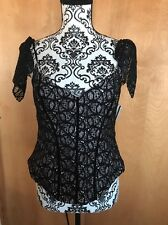 NEW Nicole Miller Black Lace  Blouse Cap Sleeve FULLY LINED  USA Size 6