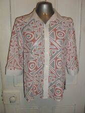 Ricki Renee Sydney size 16 poly/cotton white button front 3/4 slvd shirt in VGC
