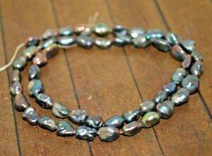 New 15 inch strand Akoya Keshi Genuine Pearl Gemstone Beads - 4mm x 8mm - A4852c