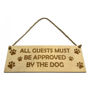 Gift for Dog Owner Hanging Door Sign Guests Theme Plaque Wooden Engraved Novelty
