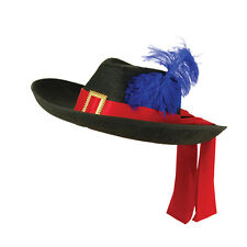Black 3 Musketeers Hat Stetson With Feather Fancy Dress Costume Prop