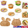 Baby Toddler Suction Plate Stay Put Feeding Plate Natural Bamboo Rabbit Shape