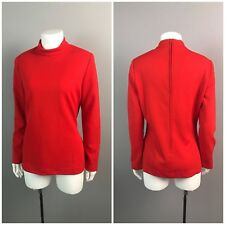 Vintage NOS Deadstock MOD 1960s 1970s Red Ribbed Mock Neck Shirt Blouse S