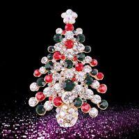 Gift Women Multi-colored Christmas Tree Jewelry Brooch Pin Crystal Rhinestone