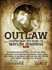 "WAYLON JENNINGS ""OUTLAW CELEBRATING THE MUSIC OF""2015 AUSTIN CONCERT TOUR POSTER"