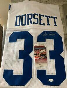 Tony Dorsett Autograph Dallas Cowboys Custom Jersey JSA Witness COA