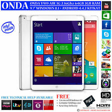 Onda v919 3G Air 64 Go Intel 2.16 Ghz Double système d'exploitation Windows 8.1 android 4.4 tablet pc