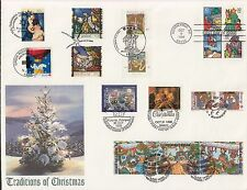1996 Traditions of Christmas Stamps Sc 3108-11 Stamps 9 Countries Farnam Cachet