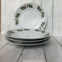 "Apulum Holly Berry Holiday Dinner Plates 10"" Romania Christmas Set of 4"