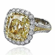 4ct Cz 925 Sterling silver Yellow Fancy Cushion Halo Solitaire Engagement Ring*