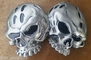 """♈ Dual SKULL   ♈ Antique Silver Color  4.5""""x 2.5"""" Awesome Belt Buckle"""