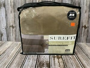 Surefit Designer Suede 2-Cushion Loveseat Slipcover in Taupe box or t cushion