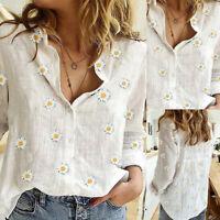 ❤️ Women's Floral Print Button Blouse Sunflower T Shirt Summer Casual Loose Tops