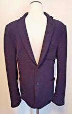 AMI Alexandre Mattiussi Men's Marine Blue Wool Jacket Blazer Textured Sz S