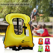 Inflatable Swim Vest Life Jacket for Snorkeling Floating Device Swimming S4Q4
