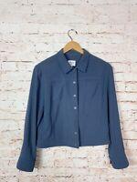 Armani Collezioni Blue Gray Wool Blend  Button Front Jacket Womens Size 12