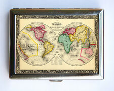 World Map Cigarette Case Wallet Business Card Holder id case atlas map