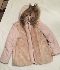 Girls Pink Fluffly Hooded Jacket Coat Age 8-9 Years