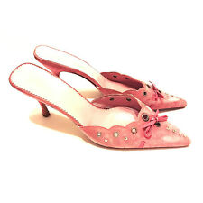 PRADA - Bow Trim Pink Suede Leather Stiletto Heels Mules Slides Shoes 6.5 / 37