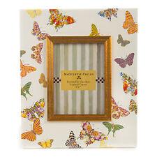 """Mackenzie-Childs White Butterfly Garden Enamel Frame For  5"""" x 7"""" Photo"""
