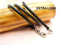 """~Custom Made~ Genuine 3mm LEATHER Cord Choker NECKLACE  ++Extra LONG 61cm (24"""")"""