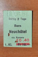 BIGLIETTO TRENO - FERROVIE - TRAIN TICKET - 1968 - BERN / NEUCHATEL (B2)