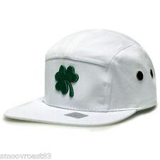 St. Patrick's Day SHAMROCK 5 Panel WHITE & GREEN Strapback CAMP HAT Camper Cap