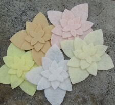 20 Wool Blend Die Cut Applique Flowers - Wedding Day