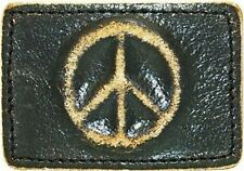 Black Leather PEACE SIGN Belt Buckle retro cool