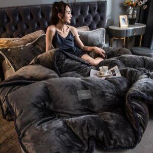 Velvet Duvet Cover Flannel Thicken Bed Quilt Cover Plush Bedclothes Bedding New