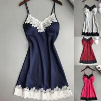 Women Satin Silk Lace Robe Dress Lingerie Nightdress Sleepwear Nightgown Chemise