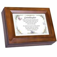 Dear & Beautiful Granddaughter Dark Wood Jewelry Music Box - You Are My Sunshine
