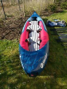 Sevylor Tahiti Plus 2+1 Man Inflatable Kayak Canoe + Oars + Skeg + Pump