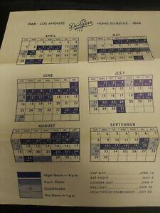 1968 Los Angeles Dodgers Home Schedule